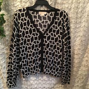 Michael Kors Bl & Wh Sz L Lightweight Sweater